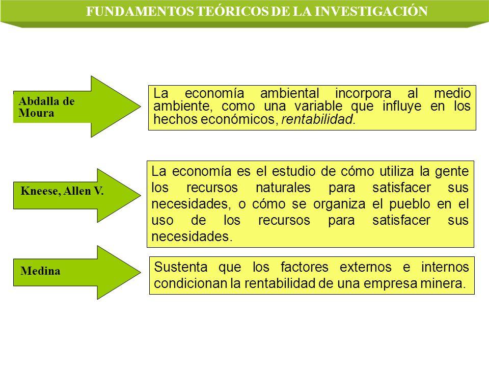 Sustenta que los factores externos e internos condicionan la rentabilidad de una empresa minera. Abdalla de Moura La economía ambiental incorpora al m
