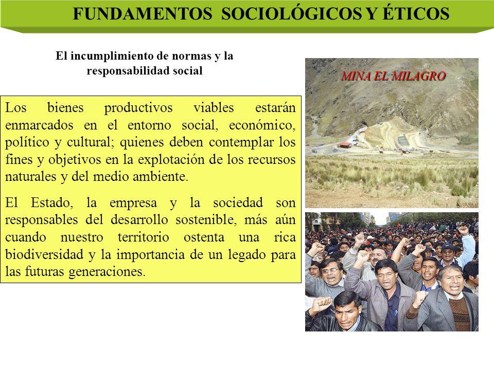 FUNDAMENTOS SOCIOLÓGICOS Y ÉTICOS Los bienes productivos viables estarán enmarcados en el entorno social, económico, político y cultural; quienes deben contemplar los fines y objetivos en la explotación de los recursos naturales y del medio ambiente.