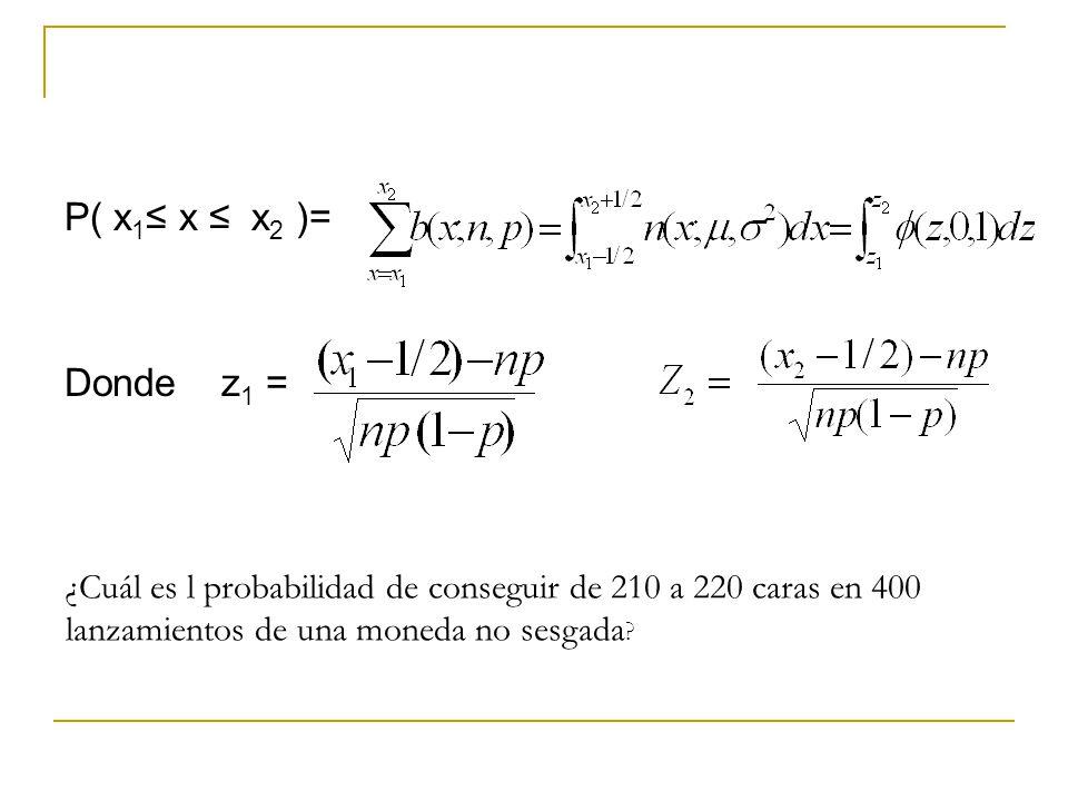 P( x 1 x x 2 )= Donde z 1 = ¿Cuál es l probabilidad de conseguir de 210 a 220 caras en 400 lanzamientos de una moneda no sesgada ?