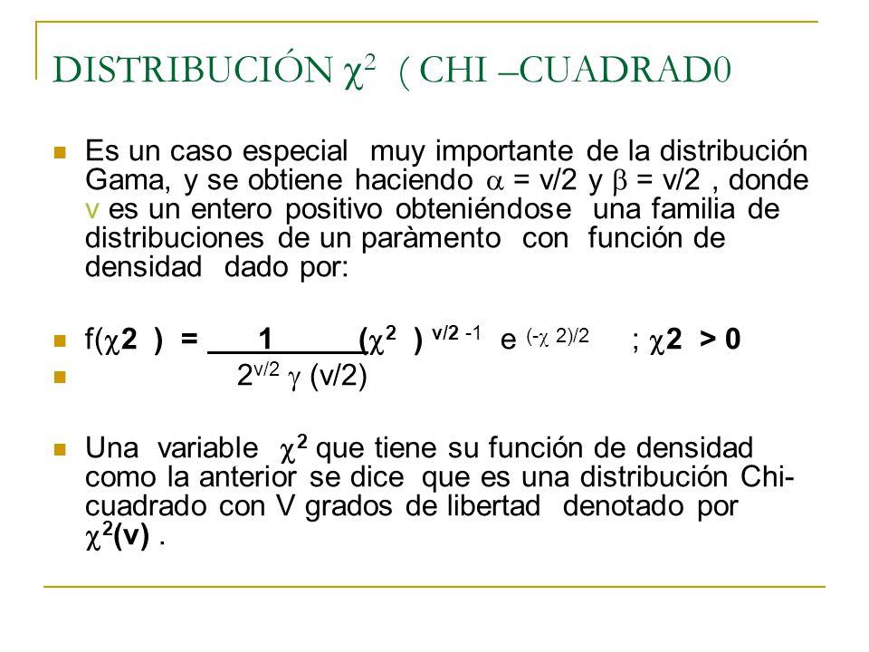 DISTRIBUCIÓN 2 ( CHI –CUADRAD0 Es un caso especial muy importante de la distribución Gama, y se obtiene haciendo = v/2 y = v/2, donde v es un entero p