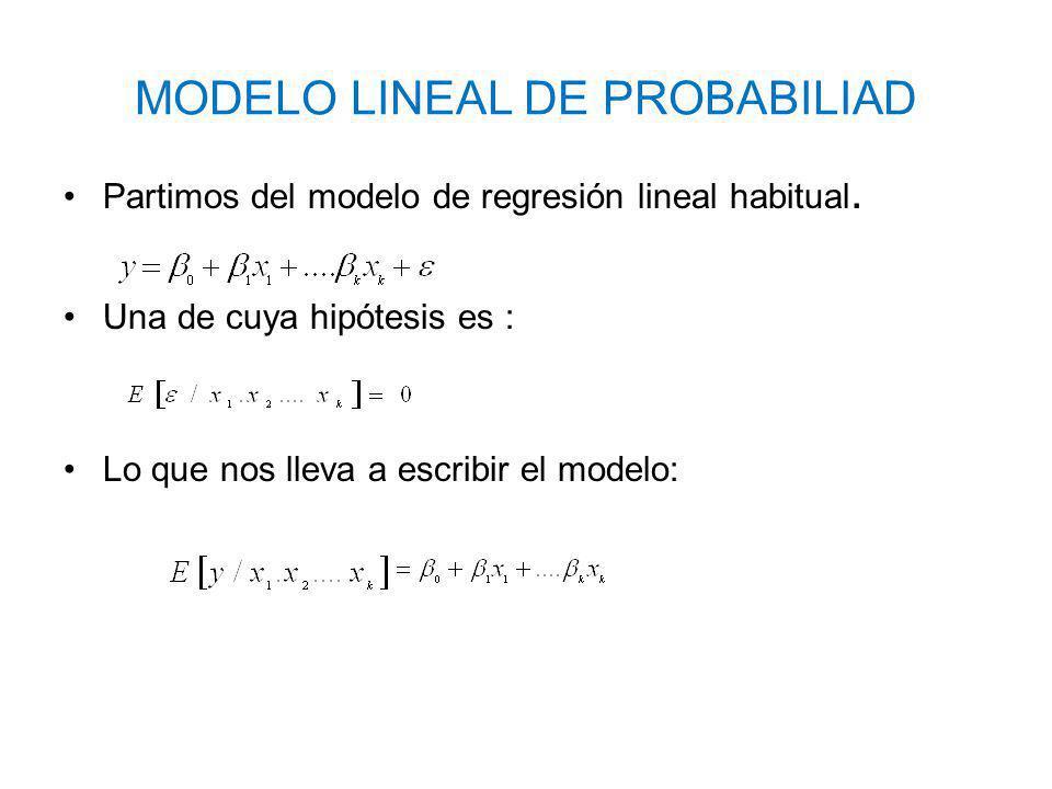 MODELO LINEAL DE PROBABILIAD Partimos del modelo de regresión lineal habitual. Una de cuya hipótesis es : Lo que nos lleva a escribir el modelo: