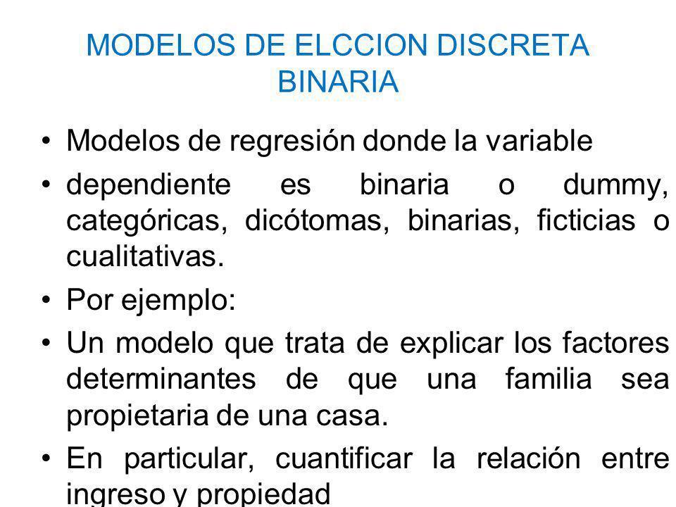 MODELOS DE ELCCION DISCRETA BINARIA Modelos de regresión donde la variable dependiente es binaria o dummy, categóricas, dicótomas, binarias, ficticias o cualitativas.