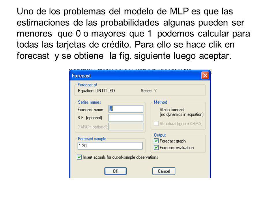 Uno de los problemas del modelo de MLP es que las estimaciones de las probabilidades algunas pueden ser menores que 0 o mayores que 1 podemos calcular