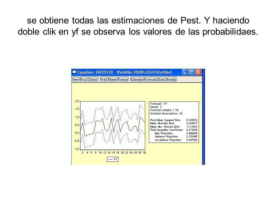 se obtiene todas las estimaciones de Pest. Y haciendo doble clik en yf se observa los valores de las probabilidaes.