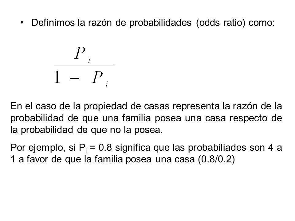 Definimos la razón de probabilidades (odds ratio) como: En el caso de la propiedad de casas representa la razón de la probabilidad de que una familia posea una casa respecto de la probabilidad de que no la posea.