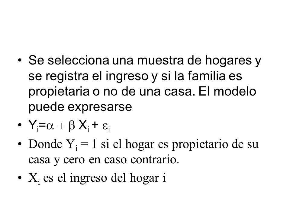 Se selecciona una muestra de hogares y se registra el ingreso y si la familia es propietaria o no de una casa. El modelo puede expresarse Y i = X i +