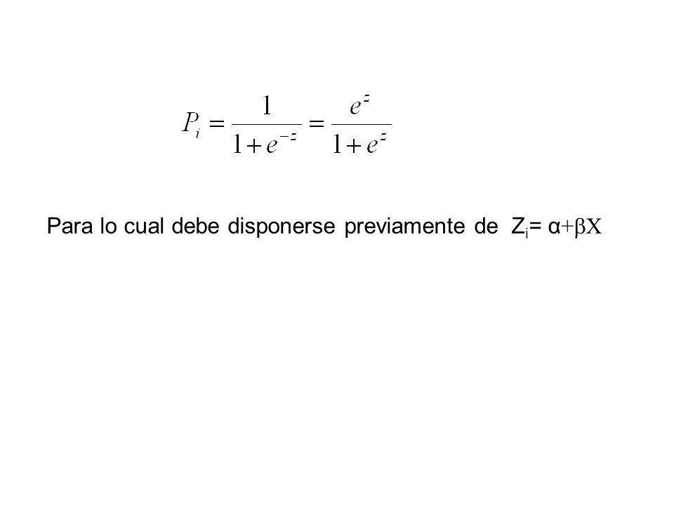 Para lo cual debe disponerse previamente de Z i = α + X