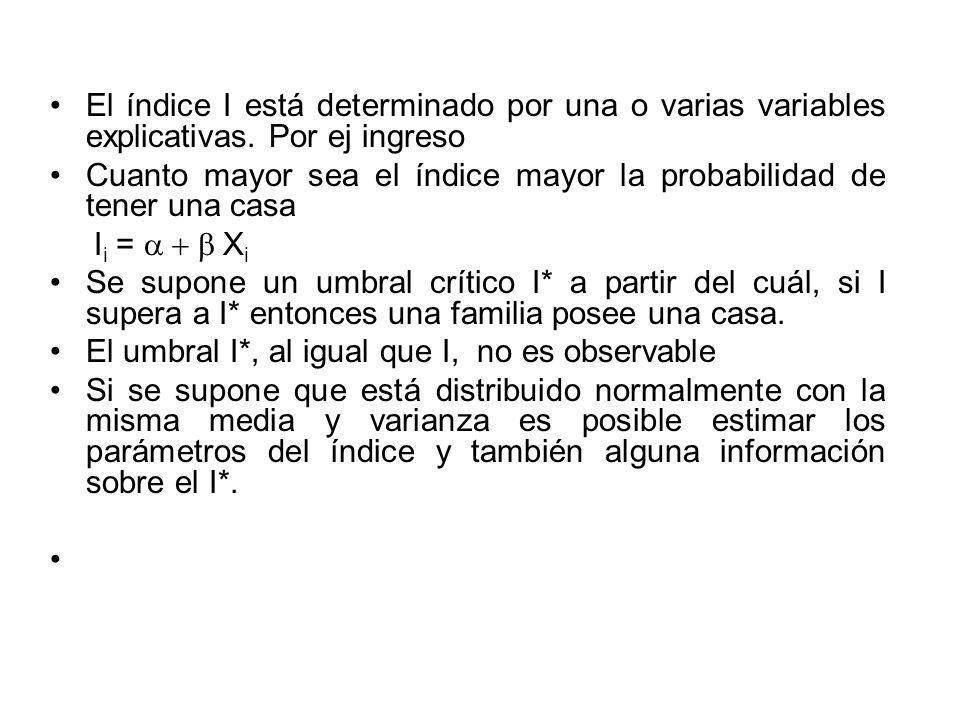 El índice I está determinado por una o varias variables explicativas. Por ej ingreso Cuanto mayor sea el índice mayor la probabilidad de tener una cas