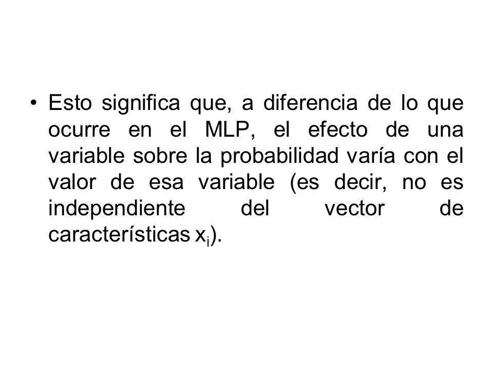 Esto significa que, a diferencia de lo que ocurre en el MLP, el efecto de una variable sobre la probabilidad varía con el valor de esa variable (es de