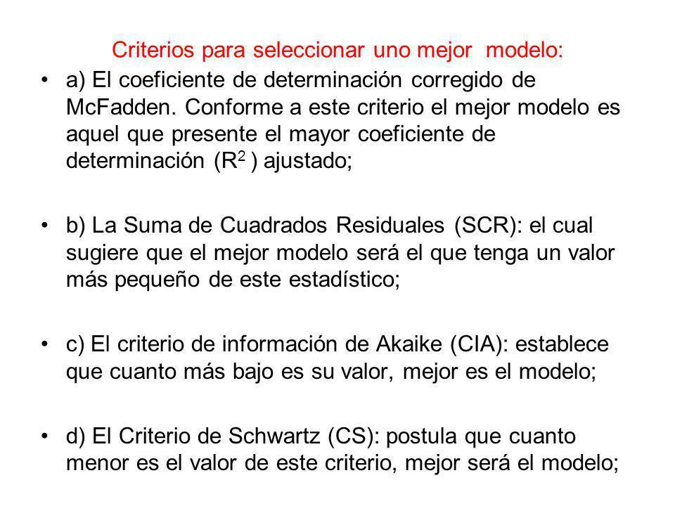 Criterios para seleccionar uno mejor modelo: a) El coeficiente de determinación corregido de McFadden. Conforme a este criterio el mejor modelo es aqu