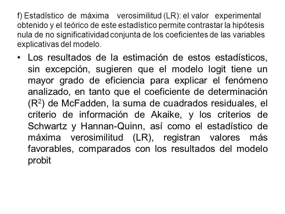 f) Estadístico de máxima verosimilitud (LR): el valor experimental obtenido y el teórico de este estadístico permite contrastar la hipótesis nula de no significatividad conjunta de los coeficientes de las variables explicativas del modelo.