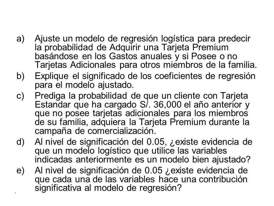 a)Ajuste un modelo de regresión logística para predecir la probabilidad de Adquirir una Tarjeta Premium basándose en los Gastos anuales y si Posee o no Tarjetas Adicionales para otros miembros de la familia.
