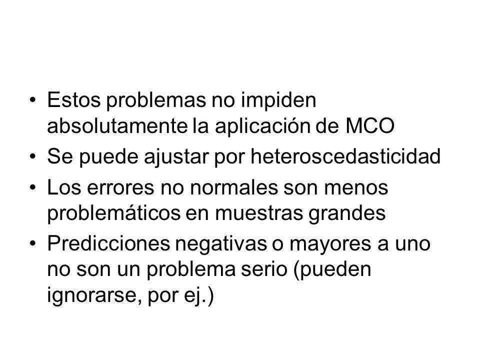 Estos problemas no impiden absolutamente la aplicación de MCO Se puede ajustar por heteroscedasticidad Los errores no normales son menos problemáticos en muestras grandes Predicciones negativas o mayores a uno no son un problema serio (pueden ignorarse, por ej.)