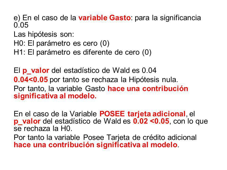 e) En el caso de la variable Gasto: para la significancia 0.05 Las hipótesis son: H0: El parámetro es cero (0) H1: El parámetro es diferente de cero (0) El p_valor del estadístico de Wald es 0.04 0.04<0.05 por tanto se rechaza la Hipótesis nula.