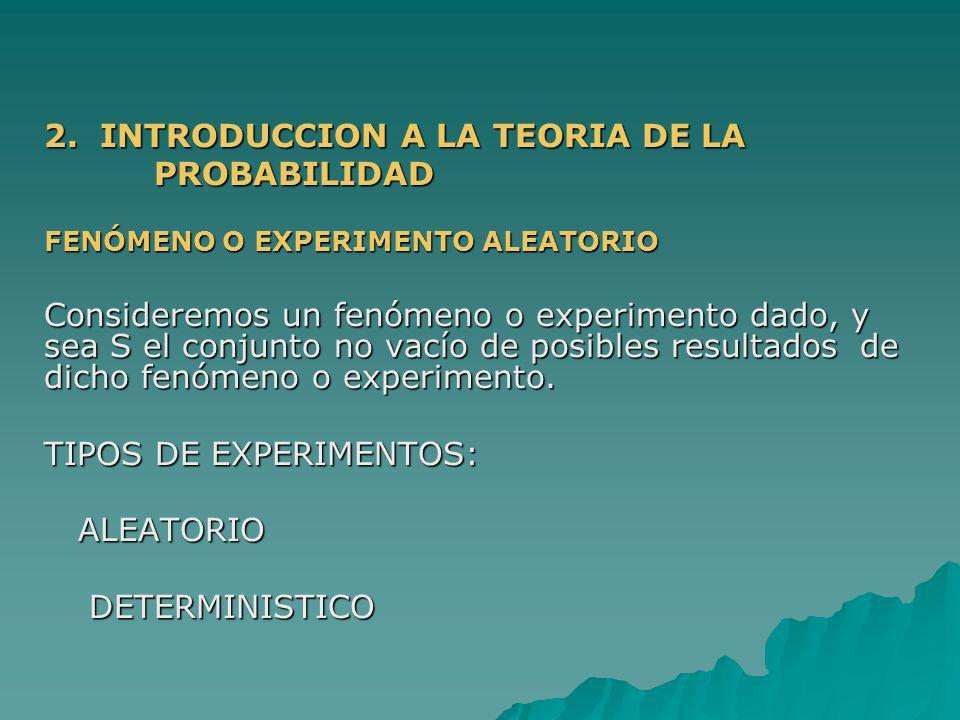 2. INTRODUCCION A LA TEORIA DE LA PROBABILIDAD PROBABILIDAD FENÓMENO O EXPERIMENTO ALEATORIO Consideremos un fenómeno o experimento dado, y sea S el c