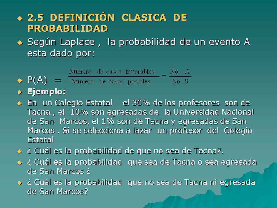 2.5 DEFINICIÓN CLASICA DE PROBABILIDAD 2.5 DEFINICIÓN CLASICA DE PROBABILIDAD Según Laplace, la probabilidad de un evento A esta dado por: Según Lapla