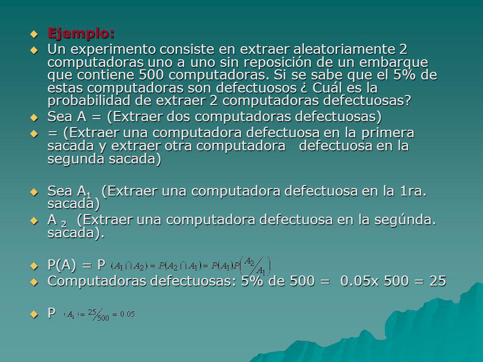 Ejemplo: Ejemplo: Un experimento consiste en extraer aleatoriamente 2 computadoras uno a uno sin reposición de un embarque que contiene 500 computador