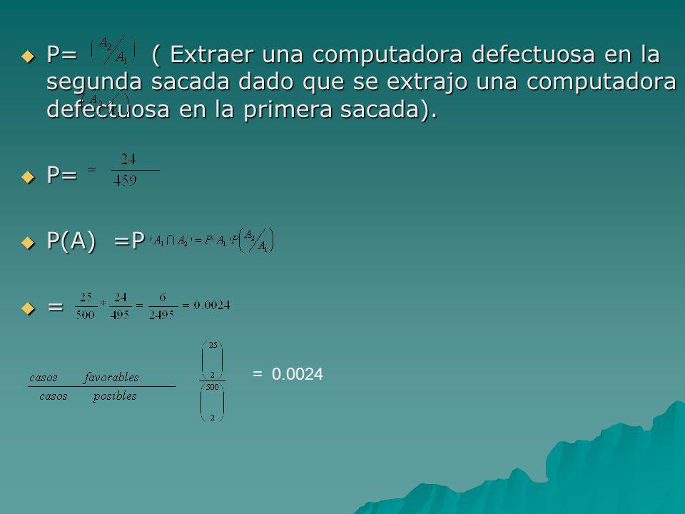 P= ( Extraer una computadora defectuosa en la segunda sacada dado que se extrajo una computadora defectuosa en la primera sacada). P= ( Extraer una co