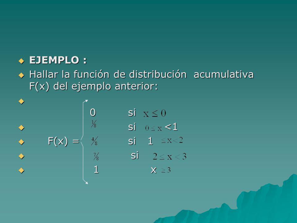 EJEMPLO : EJEMPLO : Hallar la función de distribución acumulativa F(x) del ejemplo anterior: Hallar la función de distribución acumulativa F(x) del ej