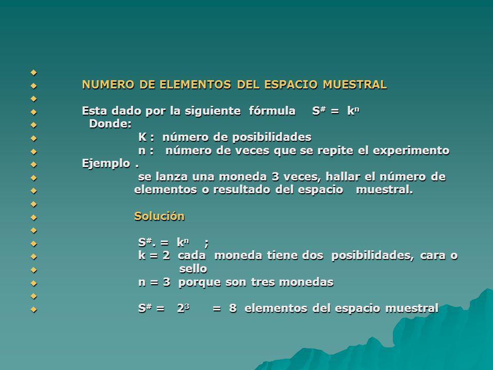 NUMERO DE ELEMENTOS DEL ESPACIO MUESTRAL NUMERO DE ELEMENTOS DEL ESPACIO MUESTRAL Esta dado por la siguiente fórmula S # = k n Esta dado por la siguie
