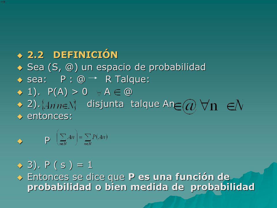 2.2 DEFINICIÓN 2.2 DEFINICIÓN Sea (S, @) un espacio de probabilidad Sea (S, @) un espacio de probabilidad sea: P : @ R Talque: sea: P : @ R Talque: 1)