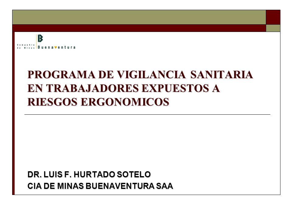 PROGRAMA DE VIGILANCIA SANITARIA EN TRABAJADORES EXPUESTOS A RIESGOS ERGONOMICOS DR.