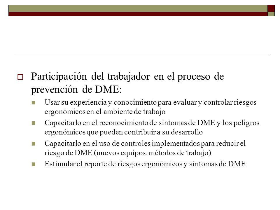 Participación del trabajador en el proceso de prevención de DME: Usar su experiencia y conocimiento para evaluar y controlar riesgos ergonómicos en el ambiente de trabajo Capacitarlo en el reconocimiento de síntomas de DME y los peligros ergonómicos que pueden contribuir a su desarrollo Capacitarlo en el uso de controles implementados para reducir el riesgo de DME (nuevos equipos, métodos de trabajo) Estimular el reporte de riesgos ergonómicos y síntomas de DME
