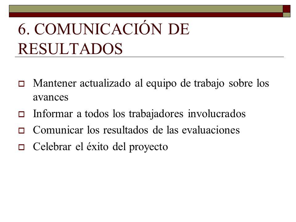 6. COMUNICACIÓN DE RESULTADOS Mantener actualizado al equipo de trabajo sobre los avances Informar a todos los trabajadores involucrados Comunicar los