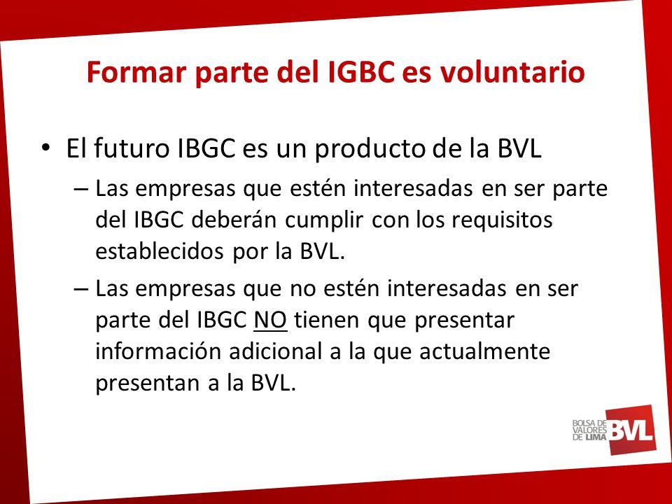Pasos a seguir para formar parte del IBGC Recepción de validación Empresa 2 Validador Validación de la Autocalificación Evaluación de las respuestas al Cuestionario BVL Documento: Metodología de selección de Valores BVL Selección de Valores IBGC Documentos: Respuestas a cuestionario de Principios de Buen Gobierno Corporativo de CONASEV.