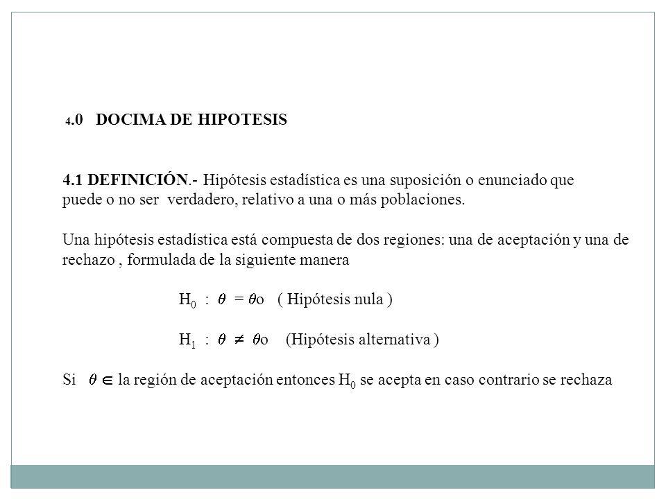 4.0 DOCIMA DE HIPOTESIS 4.1 DEFINICIÓN.- Hipótesis estadística es una suposición o enunciado que puede o no ser verdadero, relativo a una o más poblaciones.
