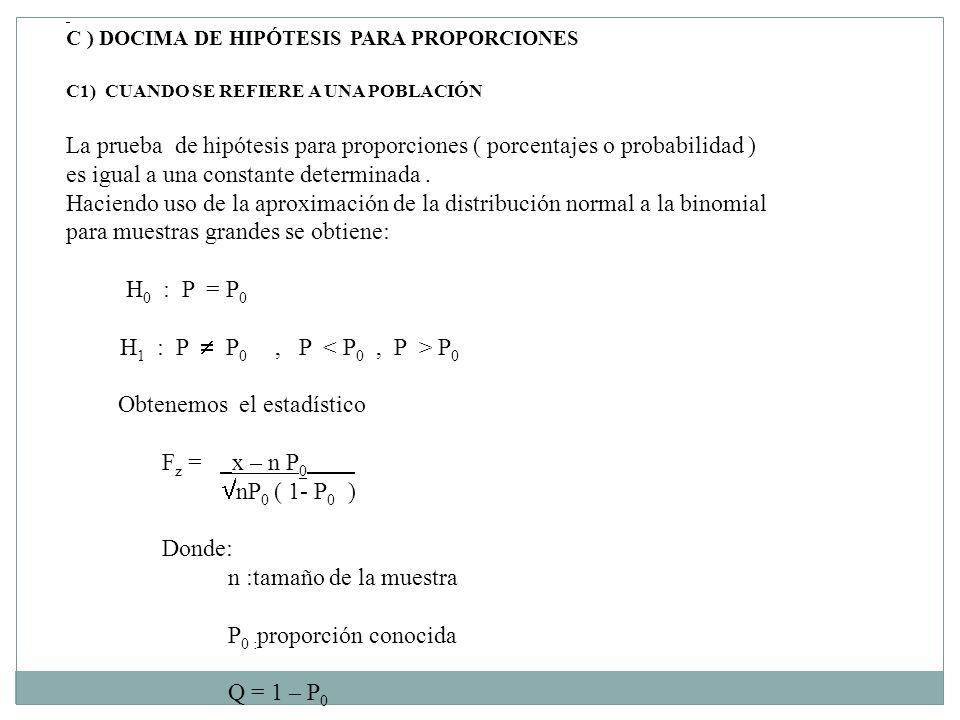 C ) DOCIMA DE HIPÓTESIS PARA PROPORCIONES C1) CUANDO SE REFIERE A UNA POBLACIÓN La prueba de hipótesis para proporciones ( porcentajes o probabilidad ) es igual a una constante determinada.