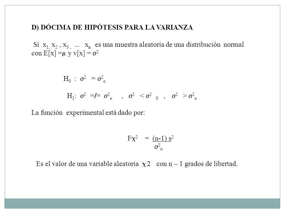 D) DÓCIMA DE HIPÓTESIS PARA LA VARIANZA Si x 1, x 2, x 3,... x n es una muestra aleatoria de una distribución normal con E[x] = y v[x] = 2 H 0 : 2 = 2