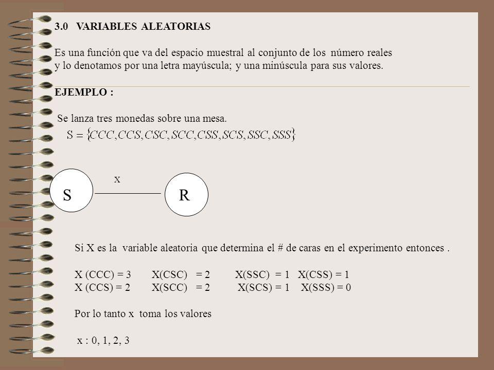 X S R 3.0 VARIABLES ALEATORIAS Es una función que va del espacio muestral al conjunto de los número reales y lo denotamos por una letra mayúscula; y u
