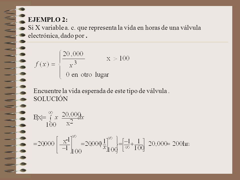 EJEMPLO 2: Si X variable a. c. que representa la vida en horas de una válvula electrónica, dado por. Encuentre la vida esperada de este tipo de válvul