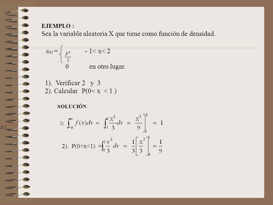 EJEMPLO : Sea la variable aleatoria X que tiene como función de densidad. 0 en otro lugar. 1). Verificar2 y 3 2). CalcularP(0< x < 1 ) f(x) = - 1< x<