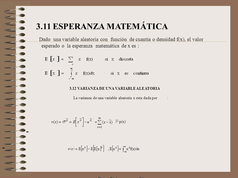 3.11 ESPERANZA MATEMÁTICA Dado una variable aleatoria con función de cuantía o densidad f(x), el valor esperado o la esperanza matemática de x es : 3.