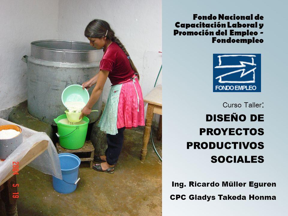 Curso Taller : DISEÑO DE PROYECTOS PRODUCTIVOS SOCIALES Fondo Nacional de Capacitación Laboral y Promoción del Empleo - Fondoempleo Ing.