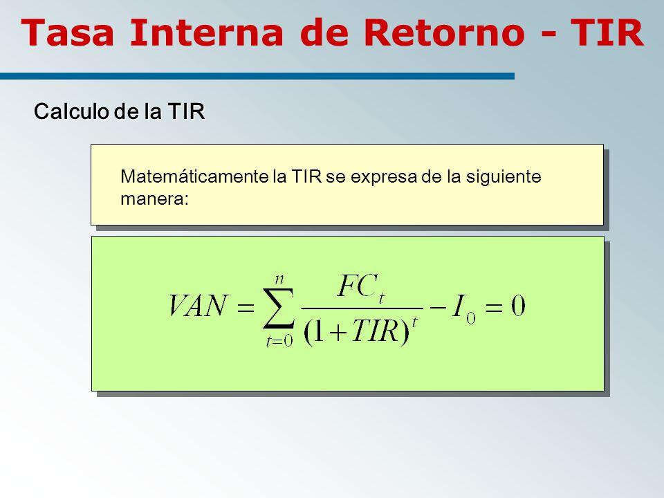 Calculo de la TIR Matemáticamente la TIR se expresa de la siguiente manera: Tasa Interna de Retorno - TIR