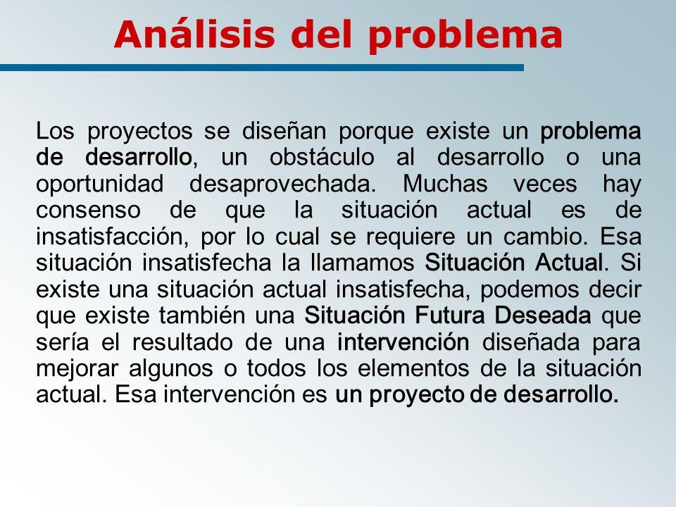 Análisis del problema Los proyectos se diseñan porque existe un problema de desarrollo, un obstáculo al desarrollo o una oportunidad desaprovechada.