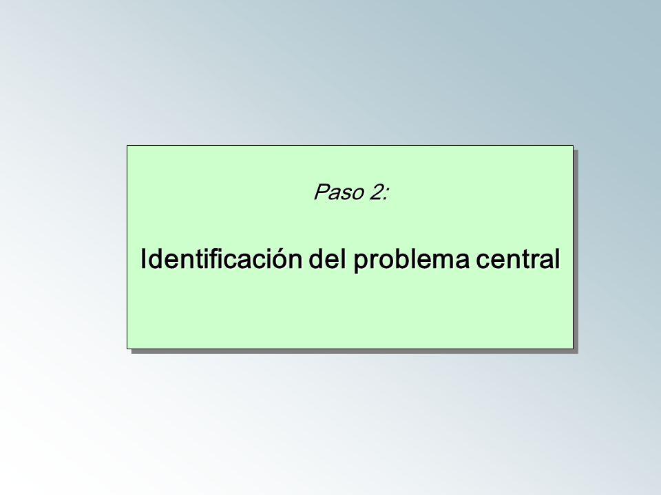 Paso 2: Identificación del problema central Paso 2: Identificación del problema central