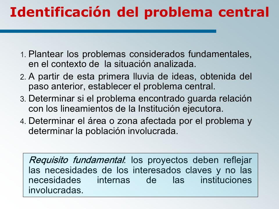 1.Plantear los problemas considerados fundamentales, en el contexto de la situación analizada.