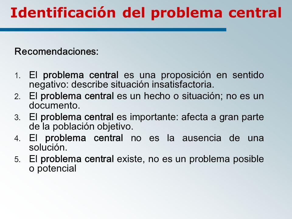 Identificación del problema central Recomendaciones: 1.