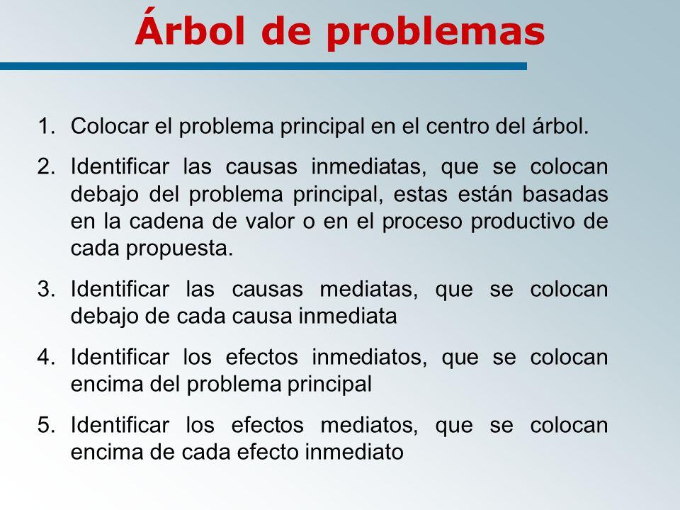 1.Colocar el problema principal en el centro del árbol.