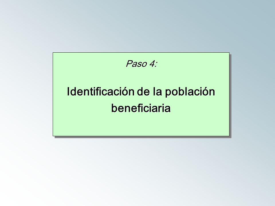 Paso 4: Identificación de la población beneficiaria Paso 4: Identificación de la población beneficiaria
