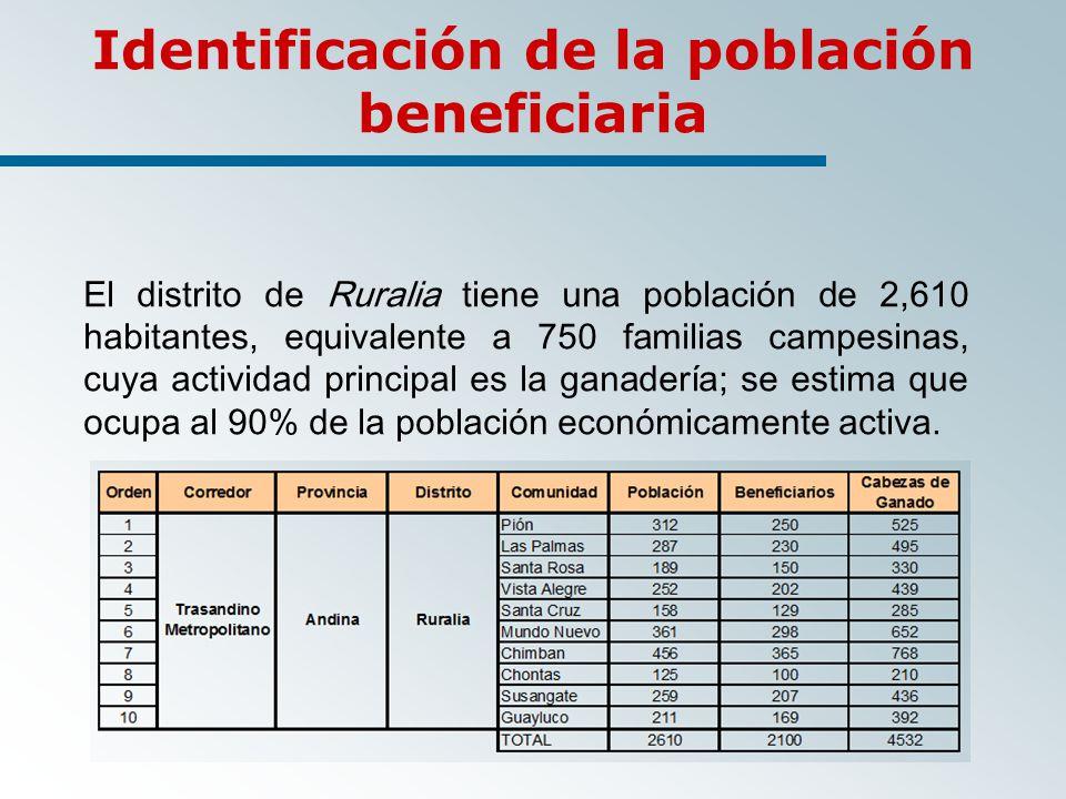 Identificación de la población beneficiaria El distrito de Ruralia tiene una población de 2,610 habitantes, equivalente a 750 familias campesinas, cuya actividad principal es la ganadería; se estima que ocupa al 90% de la población económicamente activa.