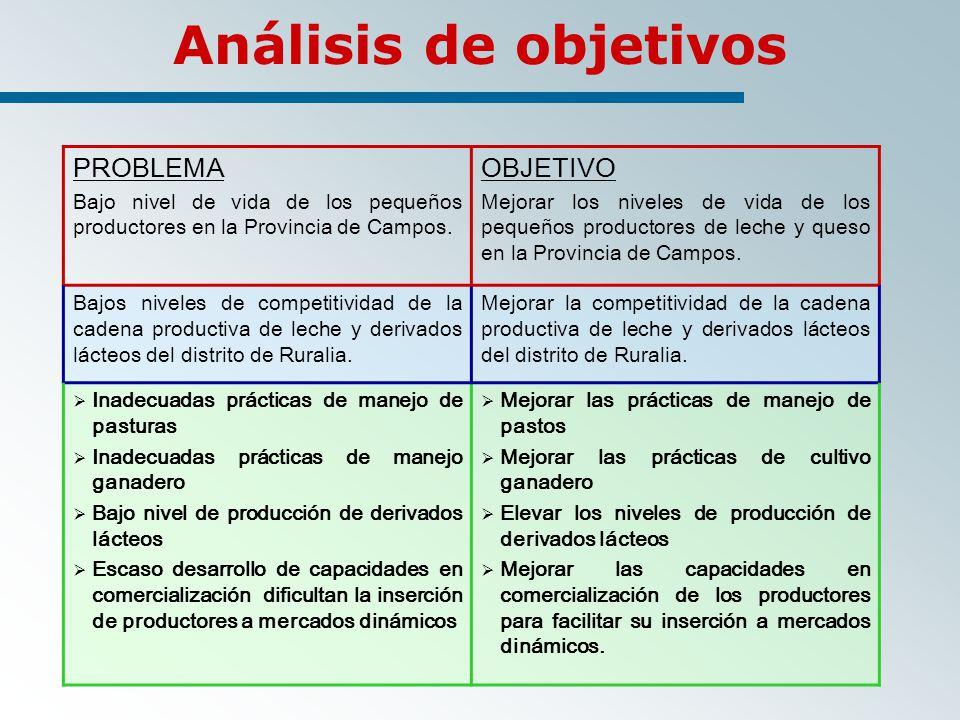 PROBLEMA Bajo nivel de vida de los pequeños productores en la Provincia de Campos.