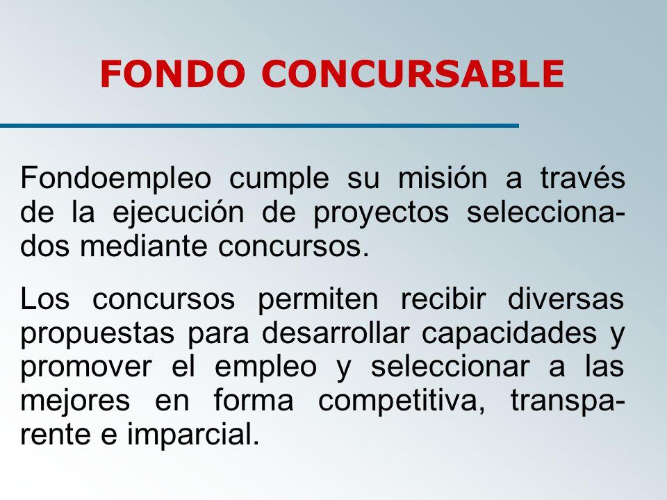 Fondoempleo cumple su misión a través de la ejecución de proyectos selecciona- dos mediante concursos.