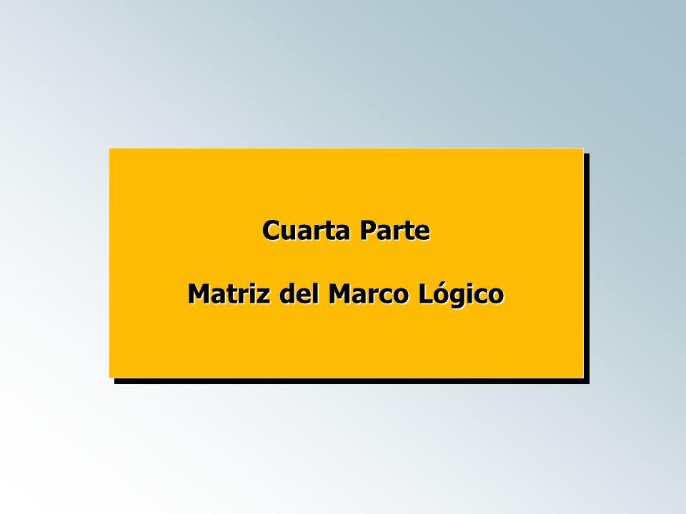 Cuarta Parte Matriz del Marco Lógico Cuarta Parte Matriz del Marco Lógico