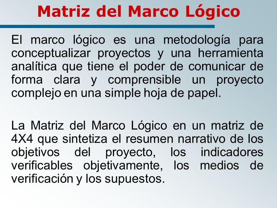 Matriz del Marco Lógico El marco lógico es una metodología para conceptualizar proyectos y una herramienta analítica que tiene el poder de comunicar de forma clara y comprensible un proyecto complejo en una simple hoja de papel.