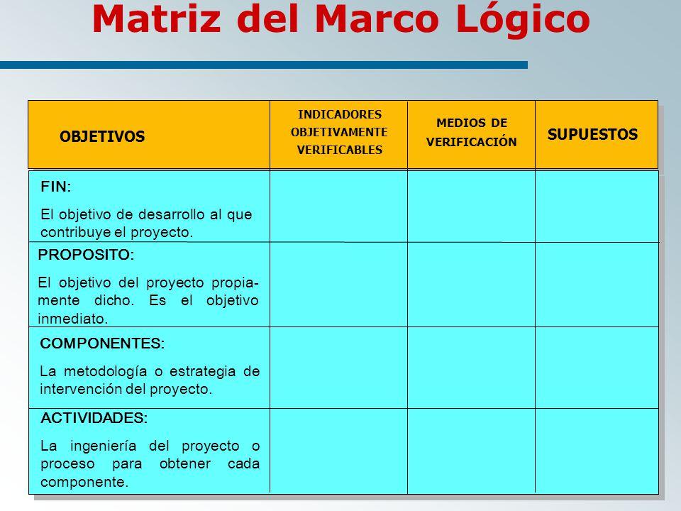 Matriz del Marco Lógico OBJETIVOS INDICADORES OBJETIVAMENTE VERIFICABLES MEDIOS DE VERIFICACIÓN SUPUESTOS FIN: El objetivo de desarrollo al que contribuye el proyecto.